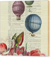 Hot Air Balloons Above Flower Field Wood Print