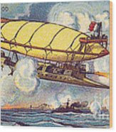 Air Battle, 1900s French Postcard Wood Print