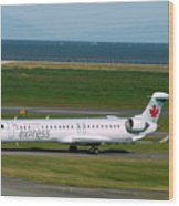Air Canada Express Crj Taxis Into The Terminal Wood Print