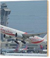 Air China Boeing 777-39ler B-2035 Smiling China Los Angeles International Airport May 3 2016 Wood Print