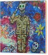Air Force Day Of The Dead Wood Print