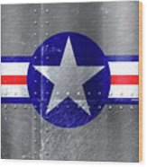 Air Force Logo On Riveted Steel Plane Fuselage Wood Print