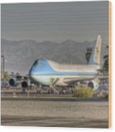 Air Force One In Palm Springs Wood Print