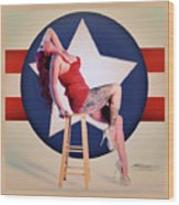Air Force Pinup With Calypso Jean Wood Print