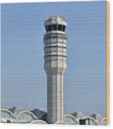 Air Traffic Control Tower At Reagan National Airport Wood Print by Brendan Reals
