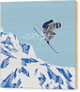 Airborn Skier Flying Down The Ski Slopes Wood Print