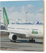 Airbus A330 Alitalia With New Livery  Wood Print