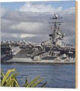 Aircraft Carrier Uss Abraham Lincoln Wood Print