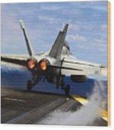 aircraft military F 18 Hornet Wood Print