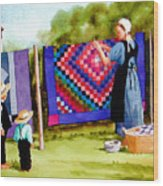 Airing The Quilts Wood Print
