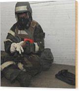 Airman Dons His Chemical Warfare Wood Print by Stocktrek Images