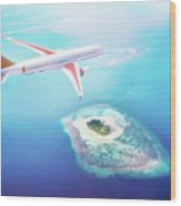 Airplane Flying Over Maldives Islands On Indian Ocean. Travel Wood Print