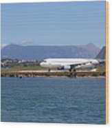 airplane on airport Corfu island Greece Wood Print