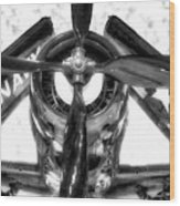 Airplane Propeller And Engine Navy Bw Wood Print