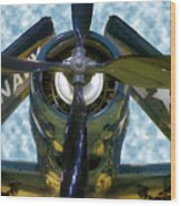Airplane Propeller And Engine Navy Wood Print