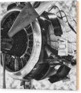 Airplane Propeller And Engine T28 Trojan 02 Bw Wood Print