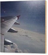 Airplane Wing In Clouds Wood Print