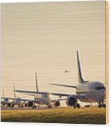 Airplanes Lining Up For Take-off Wood Print