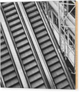 Airport Architecture Escalator Movement Wood Print