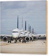 Airport Runway Stacked Up Wood Print