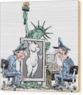 Airport Security And Liberty Wood Print