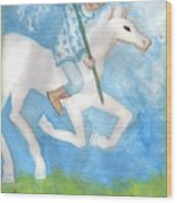 Airy Knight Of Wands Wood Print