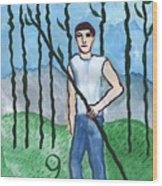 Airy Nine Of Wands Illustrated Wood Print