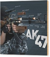 Ak-47 Infographic Wood Print