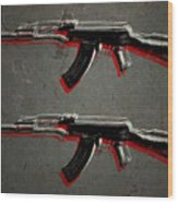 Ak47 Assault Rifle Pop Art Wood Print by Michael Tompsett