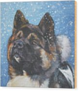 Akita In Snow Wood Print