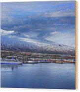 Akureyri Port Wood Print