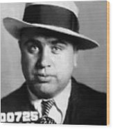 Al Capone Mugshot Painterly Wood Print
