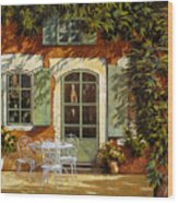 Al Fresco In Cortile Wood Print