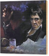 Al Pacino Snow Wood Print by Ylli Haruni