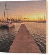 Ala Wai Harbor Sunset Wood Print