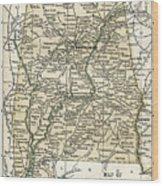 Alabama Antique Map 1891 Wood Print
