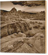 Alabama Hills California B W Wood Print