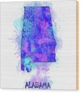 Alabama Map Watercolor 2 Wood Print