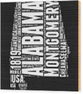 Alabama Word Cloud Black and White Map Wood Print