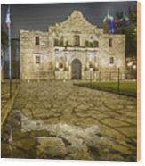 Alamo Reflection Wood Print