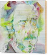 Alan Watts - Watercolor Portrait.3 Wood Print