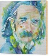Alan Watts - Watercolor Portrait.4 Wood Print