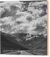 Alaska Bw On The Road  Wood Print