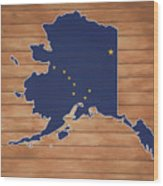 Alaska Map And Flag On Wood Wood Print