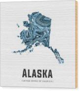 Alaska Map Art Abstract In Blue Wood Print