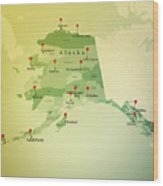 Alaska Map Square Cities Straight Pin Vintage Wood Print