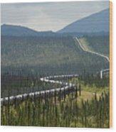 Alaska Pipeline Heading South Thru Wood Print
