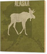 Alaska State Facts Minimalist Movie Poster Art Wood Print