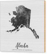 Alaska State Map Art - Grunge Silhouette Wood Print