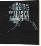Alaska Word Cloud 1 Wood Print